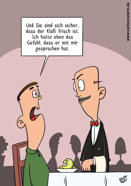 Cartoon von Thomas Luft zum Thema sprechender Kloß.
