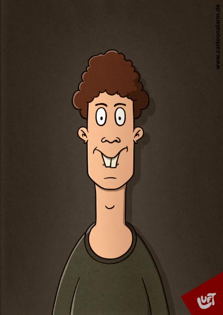 Lustige Karikatur eines jungen Mannes , gezeichnet von Thomas Luft