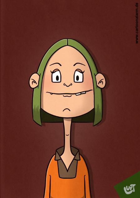 Lustige Karikatur einer Frau mit grünen Haaren, gezeichnet von Thomas Luft.