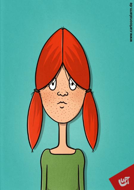 Lustige Karikatur eines Mädchens mit roten Haaren und Sommersprossen, gezeichnet von Thomas Luft.