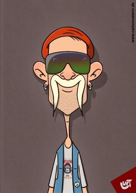 Lustige Karikatur eines Mannes mit auffälligem Schnauzbart, Sonnenbrille und Jeansweste., gezeichnet von Thomas Luft.