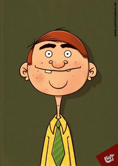 Lustige Karikatur eines Mannes (Bertram O.) mit Akne in Gesicht, gezeichnet von Thomas Luft.