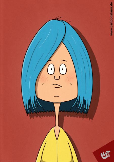 Lustige Karikatur einer jungen Frau (Kristin U.) mit blauen, mittellangen Haaren, gezeichnet von Thomas Luft.