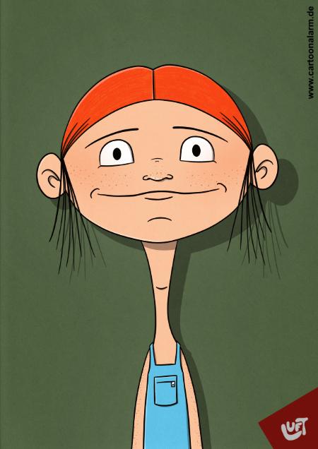 Lustige Karikatur einer jungen Frau (Merle B.) mit roten Haaren und Sommersprossen, gezeichnet von Thomas Luft.