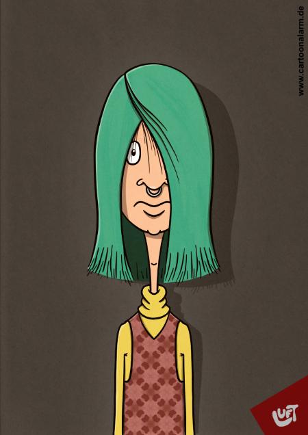 Lustige Karikatur einer jungen Mannes (Birk L.) mit grünen langen Haaren und Nasenring, gezeichnet von Thomas Luft.