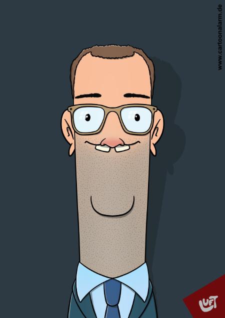 Lustige Karikatur von Jens Spahn, gezeichnet von Thomas Luft.