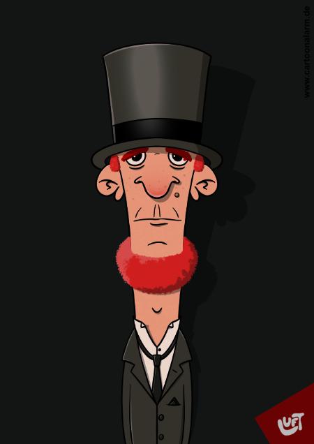 Lustige Karikatur eines Mannes (Harald T.) mit rotem Kinnbart und Zylinder, gezeichnet von Thomas Luft.