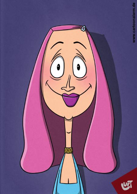 Lustige Karikatur einer Frau (Charline E.) mit langen rosafarbenen Haaren, gezeichnet von Thomas Luft.