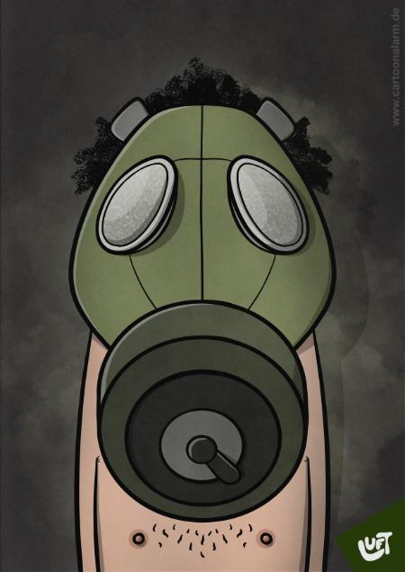 Lustige Karikatur eine Mannes mit Gasmaske (Torsten D.), gezeichnet von Thomas Luft.