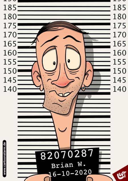 Lustige Karikatur eine festgenommenen Mannes (Brian W.), gezeichnet von Thomas Luft.