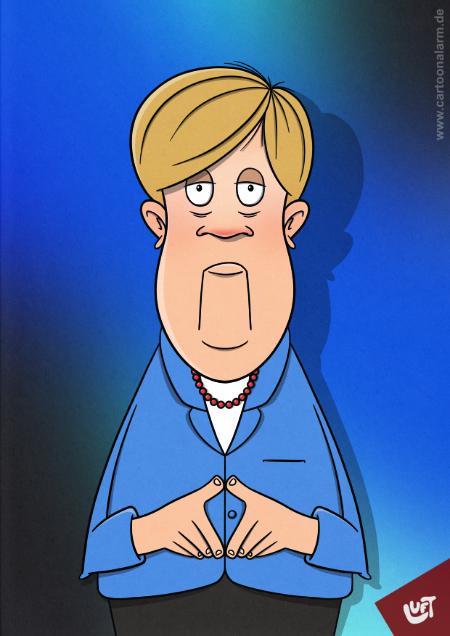 Lustige Karikatur von Angela Merkel, gezeichnet von Thomas Luft.
