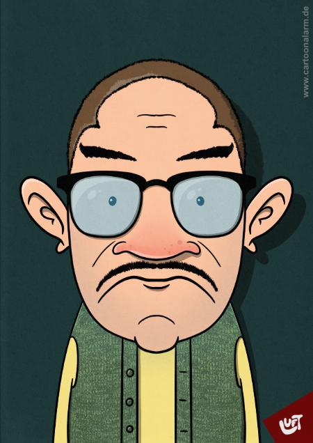 Lustige Karikatur eines älteren Mannes (Bruno H.) mit großer Brille, gezeichnet von Thomas Luft.