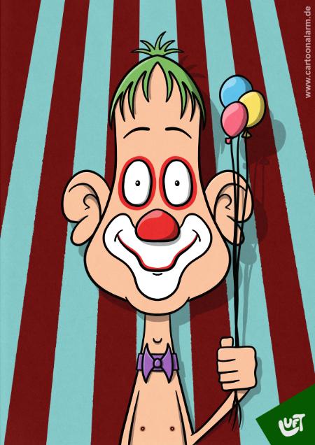 Lustige Karikatur eines Clowns mit Luftballons, gezeichnet von Thomas Luft.