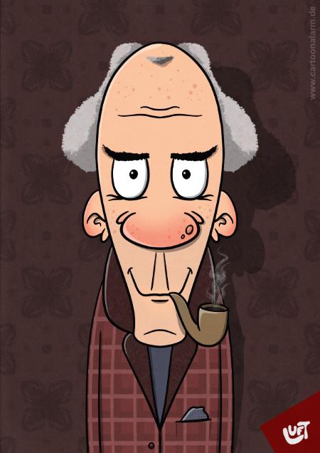 Lustige Karikatur eines alten Mannes (James B.) mit Pfeife, gezeichnet von Thomas Luft.