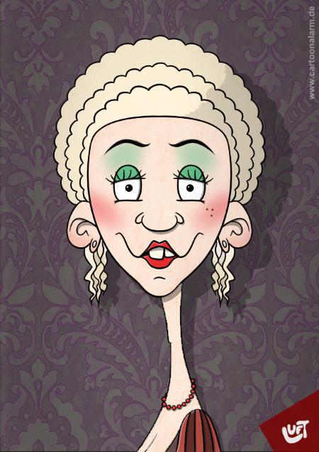 Lustige Karikatur einer Mademoiselle, gezeichnet von Thomas Luft.