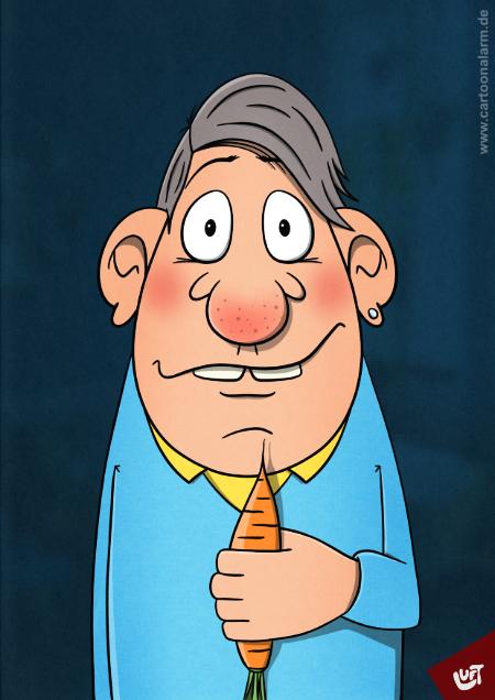 Lustige Karikatur eines Mannes (Erwin T.) mit einer Möhre in der Hand, gezeichnet von Thomas Luft.