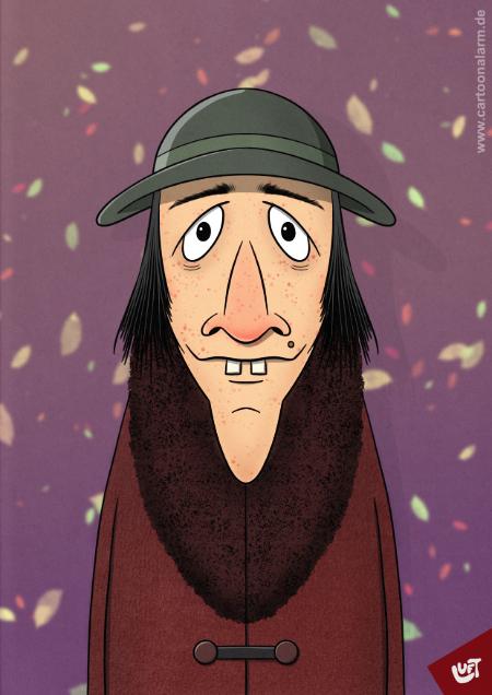 Lustige Karikatur einer älteren Frau (Alma E.) mit Hut, gezeichnet von Thomas Luft.