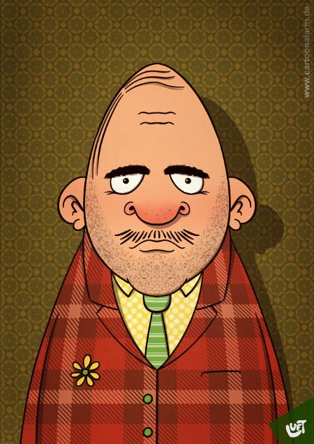 Lustige Karikatur eines Mannes (Harad F.) mit kariertem Sakko, gezeichnet von Thomas Luft.