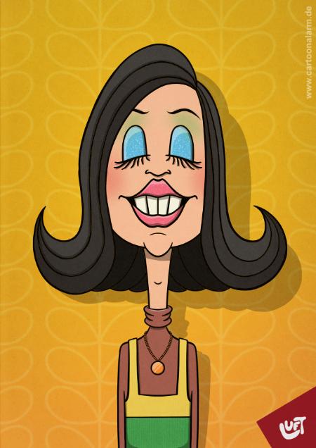 Lustige Karikatur einer Frau (Gerlinde P.) aus den 70er Jahren, gezeichnet von Thomas Luft.