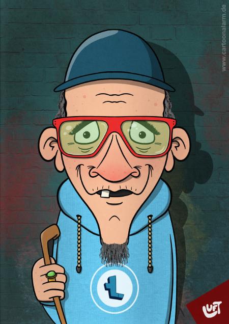Lustige Karikatur eines hippen, alten Mannes (Hans S.) mit Hut und Stock, gezeichnet von Thomas Luft.
