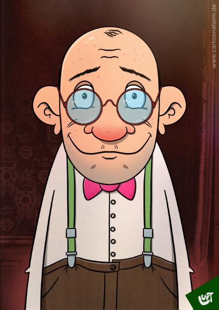 Lustige Karikatur eines älteren Herrn (Hans P.) mit Brille und Fliege, gezeichnet von Thomas Luft.