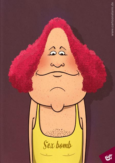 Lustige Karikatur eines Mannes (Hermann K.) mit roten Locken, gezeichnet von Thomas Luft.