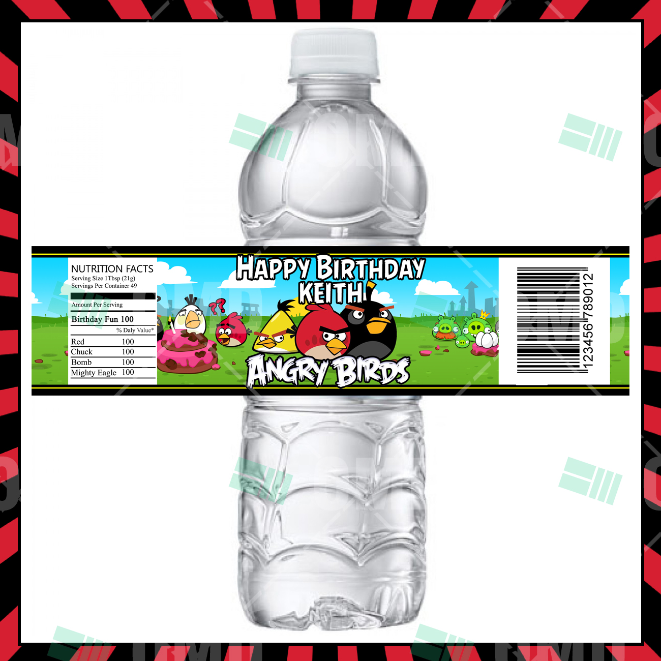 Angry Birds Party Bottle Labels Cartoon Invites
