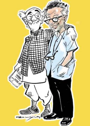 Cartoonist R K Laxman's self caricature with his created common man. Image Source