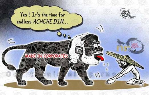 Modi-Governments-ACHCHE-DIN_cartoon by nituparna rajbongshi