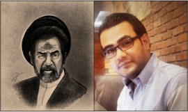 Cartoonist Ahmed Falah with his caricature of a devout Saddam Hussein