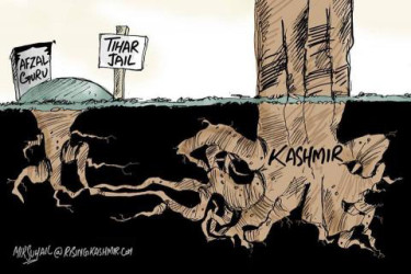 "Mir Suhail cartoon showing roots from the grave of Afsal Guru linking underground with the roots of a large tree labeled ""Kashmir"""