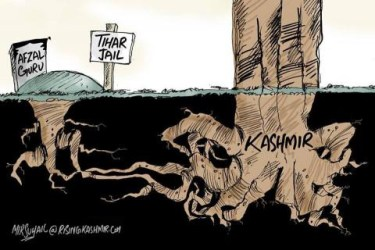 """Mir Suhail cartoon showing roots from the grave of Afsal Guru linking underground with the roots of a large tree labeled """"Kashmir"""""""