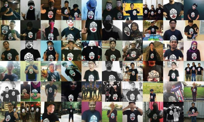 Images of Malaysians wearing clown-Najib t-shirts, shared on social media