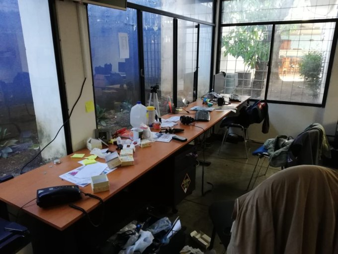 The work station of cartoonist Pedro X. Molina at the office of Nicaraguan news service Confidencial is shown in dissaray after a police raid,  December 14th 2018.