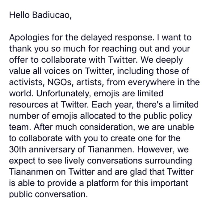 """Twitter's letter to cartoonist Badiucao, rejecting his submission of a """"Tank Man"""" emoji for Tiananmen Square commemoration."""