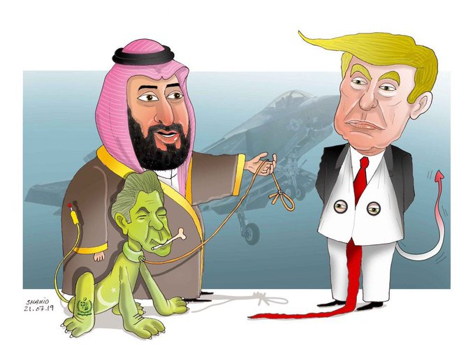 Atiq Shahid's cartoon depicts Pakistan's prime minister Imran Khan as a dog on a leash, offered to US president Donald Trump as a gift by Saudi Arabia's prince Mohammad bin Salman.