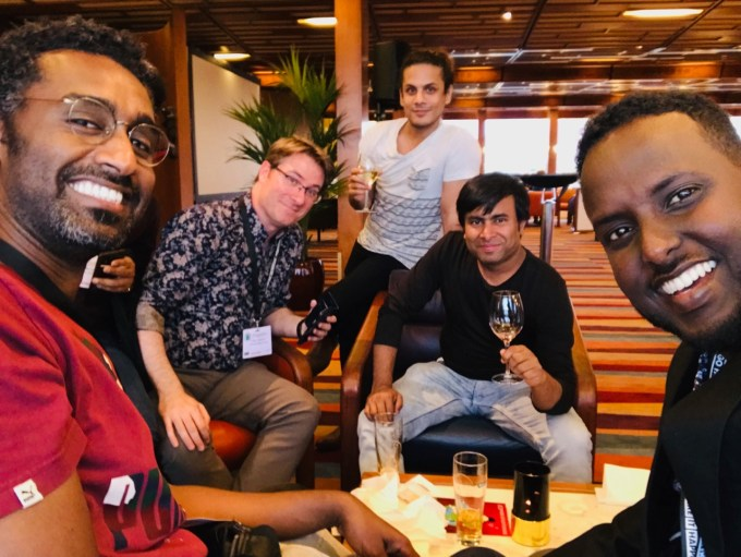 Some of the cartoonists granted refuge within ICORN cities in the past include: Khalid Albaih, Ali Durani, Arifur Rahman and Abduallahi Muhiaddin. Pictured in Rotterdam, 2019 with CRNI Deputy Executive Director Terry Anderson.