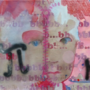 Be happy or not, 2014, acrylique mixe sur toile brute et collage, 160 x 90 cm, ©all rights reserved. 140 €