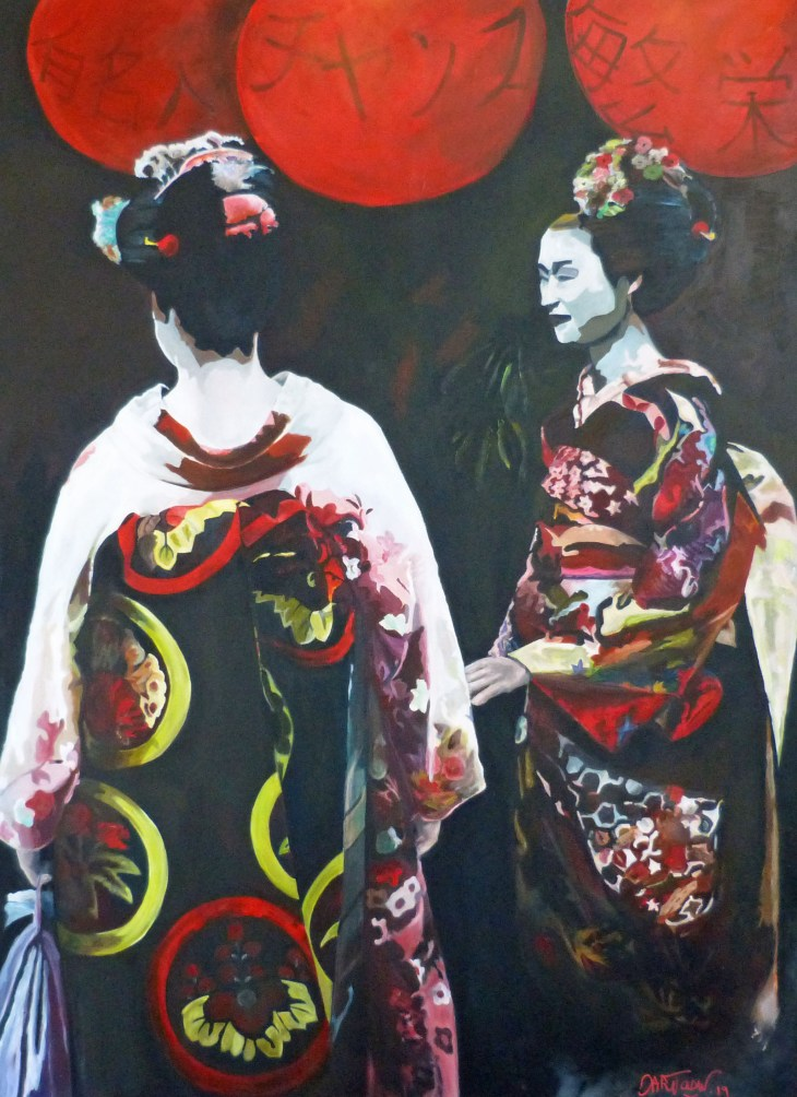 Geisha 2019, acrylique sur toile,110 X 150 cm,  ©all  rights reserved.