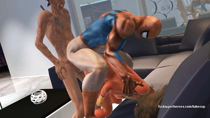 Horny Spiderman shares hot babe with other dude in porn cartoon