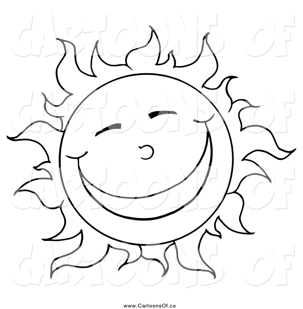 Vector Illustration Of A Black And White Sun Smiling By