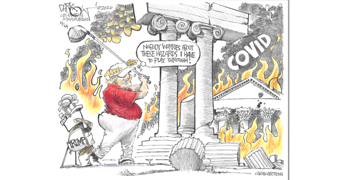 Golfing While Covid Burns by by John Darkow, Columbia Missourian