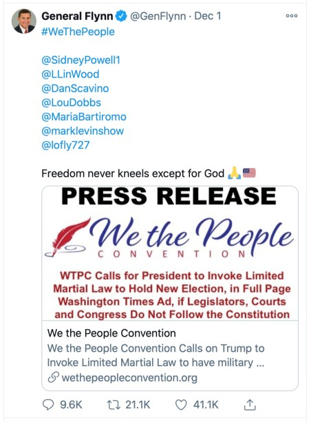 Flynn Tweet Urging Martial Law and New Election