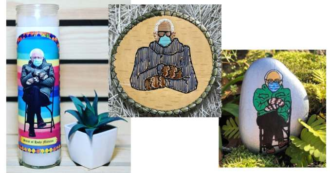 Bernie Saint of Holy Mittens by Instagram user @thenorthernflame / Birch Bark Quilled Unkle Bernie by Instagram user @deevo222 / Bernie on a Rock by Instagram user @rocksbydd
