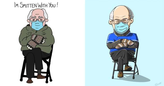 I'm Smitten With You Bernie by Instagram user @thepundoodler / Cartoon Bernie by Instagram user @sebastiank604