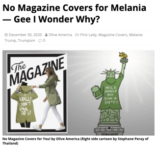 See related article: No Magazine Covers for Melania -- Gee I Wonder Why?
