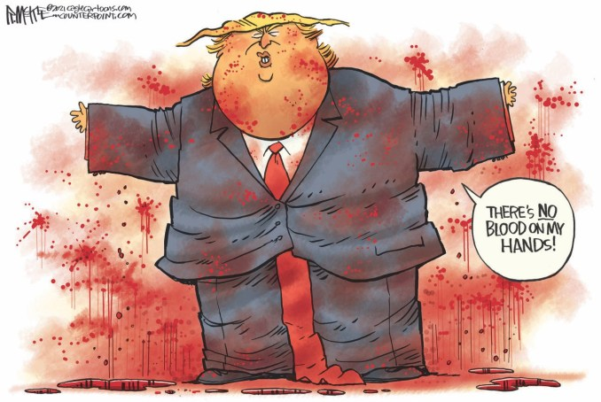 Trump No Bloody Hands by Rick McKee, CagleCartoons.com