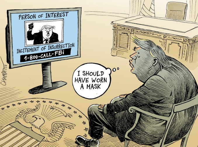 Wanted by the FBI by Patrick Chappatte, NZZ am Sonntag
