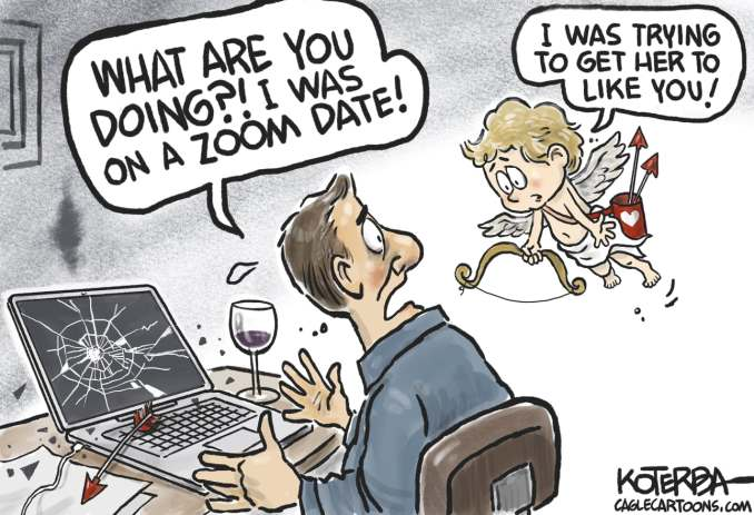 Love and Dating in the age of Covid by Jeff Koterba, CagleCartoons.com