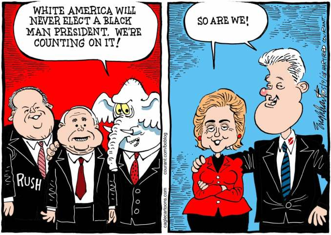 Race In The Campaign by Bob Englehart, 2008 PoliticalCartoons.com